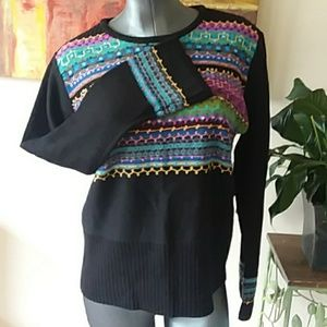 C*L*C sequined artsy colorful knit sweater wool bl